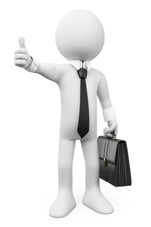 3d white business person with thumb up. Ok. Isolated white background. Stock Photo - 20363036