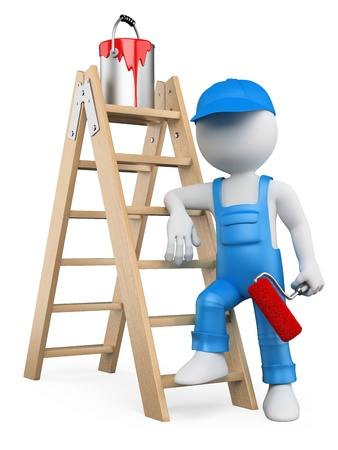 painter: 3d white person painter with ladder and paint roller. Isolated white background.
