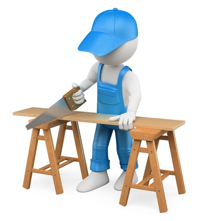 saws: 3d white person carpenter cutting wood with a handsaw. Isolated white background.