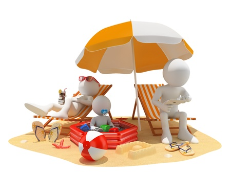 3d white people. Family at the beach. Father, mother and baby. Isolated white background.
