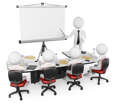 training group: 3d white business persons at a workshop. Presentation. Isolated white background.