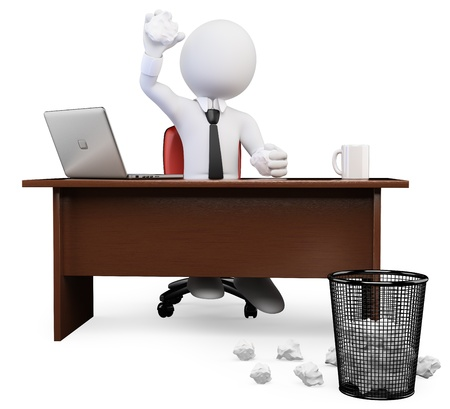 3d white business person tossing crumbled Paper ball at trash can in the office. Isolated white background. photo