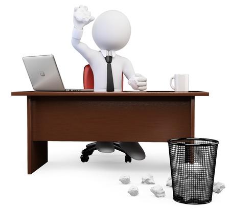 oficina: Blanco 3d persona de negocios que sacude la bola de papel desmenuzado en basura en la oficina. Aislados en fondo blanco.