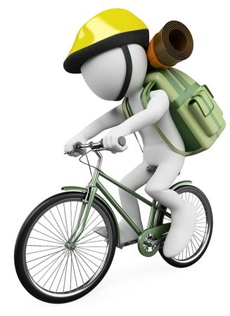 3 d 白い人ハイカー バイクに乗る人のバックパック。孤立した白い背景。