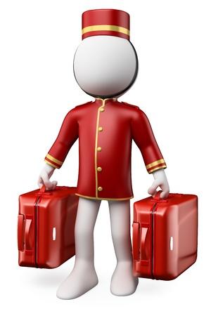 campanas: Los blancos 3D. Bellhop con dos maletas trolley. Aislados en fondo blanco.