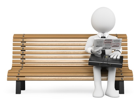 reading: 3D white people. Businessman sitting on a bench looking for work in the newspaper. Isolated white background. Stock Photo