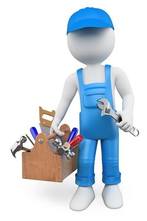 3D witte mensen. Klusjesman met een toolbox en een moersleutel. Geïsoleerde witte achtergrond. Stockfoto