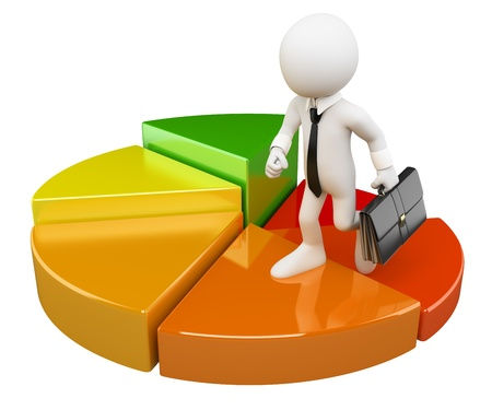 3D white people. Businessman climbing a pie chart with briefcase. Isolated white background. Stock Photo
