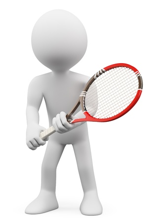 tennis racquet: 3d white people. Tennis player waiting to return. Isolated white background.