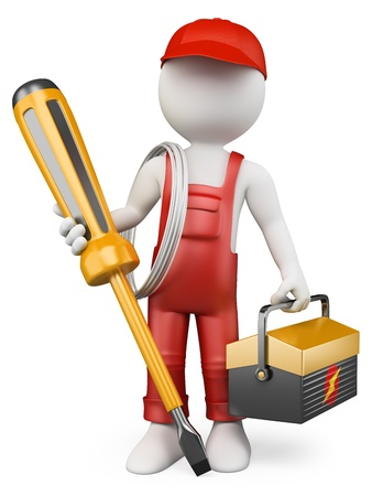 screwdriver: 3d white people. Electrician with tool box and screwdriver . Isolated white background.  Stock Photo