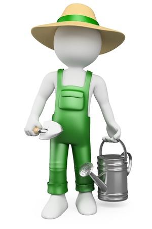 jardinero: 3d gente blanca. Jardinero con regadera y pala. Aislados en fondo blanco.