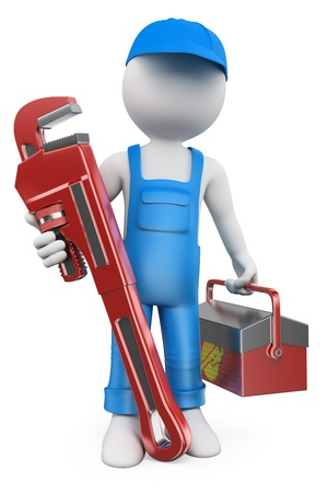 spanners: 3d white people. Plumber with pipe wrench and tool box. Isolated white background