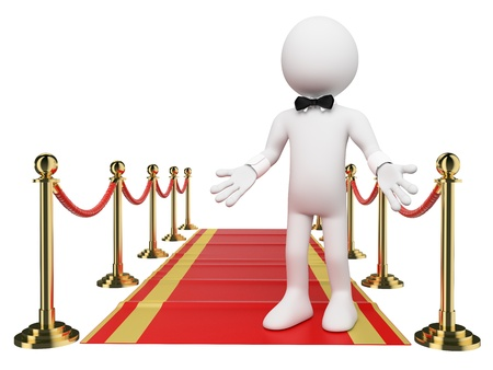 3d white people. Welcome to the Red Carpet. Isolated white background photo