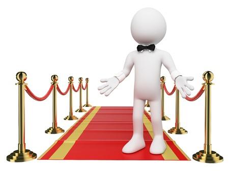 3d witte mensen. Welkom op de Red Carpet. Geïsoleerde witte achtergrond