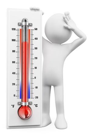 3 d の白人の人々。夏の暑い日の温度計。孤立した白い背景