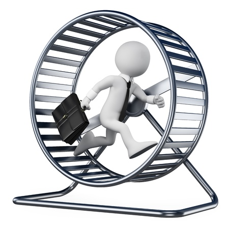 3d white people  Businessman in a hamster wheel  Isolated white background  photo