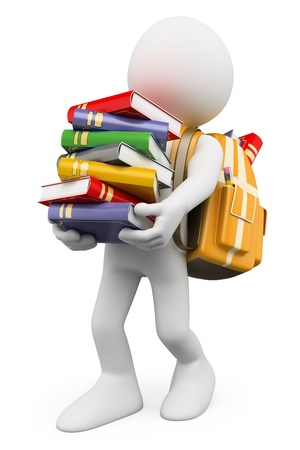 carrying: 3d white people  Student carrying a stack of books back to school  Isolated white background