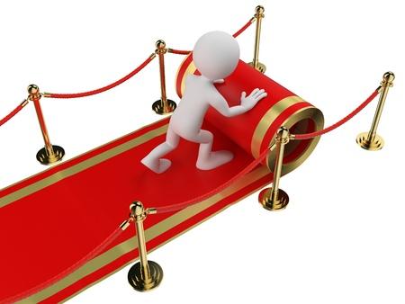 premi: 3d bianco persone Worker stendere un tappeto rosso isolato sfondo bianco