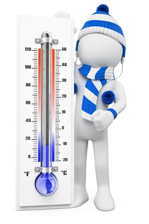 3d witte mensen. Thermometer in de winter koude dagen. Geïsoleerde witte achtergrond