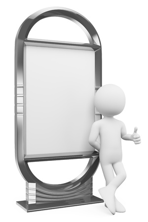 3d white people. Man leaning in a blank billboard. Isolated white background. Stock Photo - 21786128