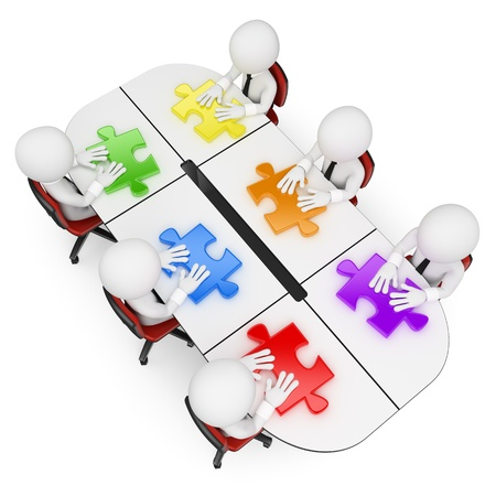 puzzle: 3d white business people. Teamwork in a business meeting looking for the best solution. Isolated white background.