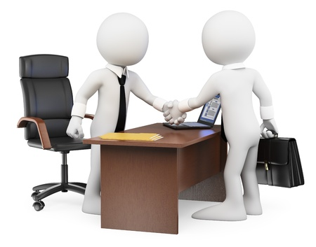 deal in: 3d white business people. Businessmen closing a deal in the office. Isolated white background.  Stock Photo