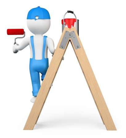 3d white people. Painter on a ladder painting with a roller brush. Isolated white background. photo