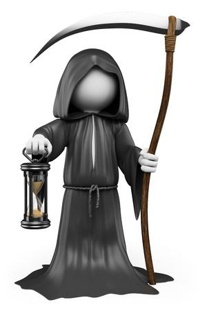 люди: 3d белые люди. Хэллоуин, мрачный костюм жнец. Изолированные белый фон.