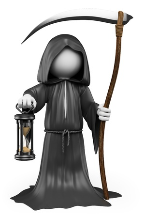 grim: 3d white people. Halloween, the grim reaper costume. Isolated white background. Stock Photo