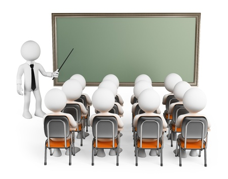university professor: 3d white people. Students in class with teacher and blank chalkboard. Isolated white background.