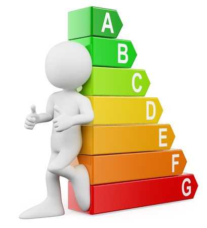 energy efficiency: 3d white people. Energy efficiency ratings. Isolated white background.