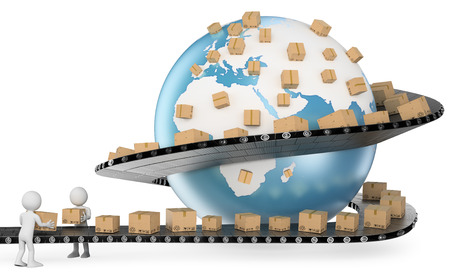 logistic: 3d gente blanca. Met�fora International Service Delivery. Transporte Global. Aislados en fondo blanco.