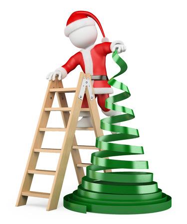 weihnachtskarten: 3D-wei�e Menschen. Weihnachtsmann mit einem Konzept Weihnachtsbaum. Isoliert wei�en Hintergrund.