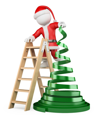 3d white people. Santa claus with a concept christmas tree. Isolated white background.