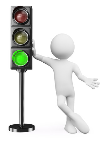 by light: 3d white people. Man leaning on a green traffic light. Isolated white background.