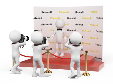 superstar: 3d white people. Celebrity posing in a photocall for photographers. Isolated white background.