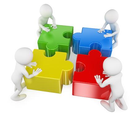 3d gente blanca. Trabajo en equipo uniendo las piezas del rompecabezas para resolver un problema. Aislados en fondo blanco.