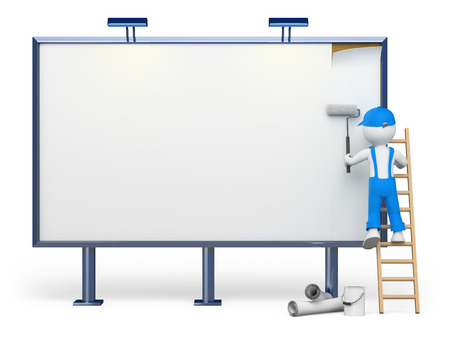 blank billboard: 3d white people. Worker on a ladder in a blank billboard. Isolated white background.
