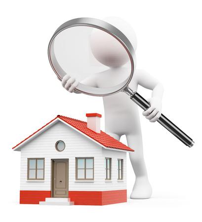 lupa: 3d bílí lidé. Muž s lupou hledal domu. Izolované bílém pozadí. Reklamní fotografie