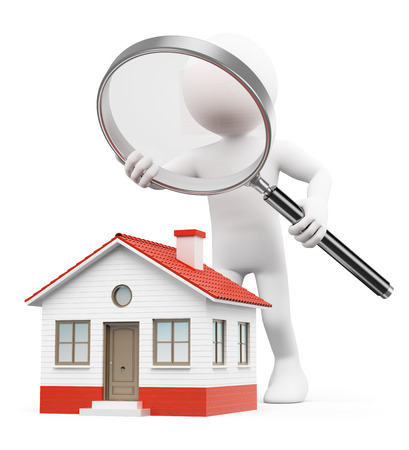 housing sales: 3d white people. Man with magnifying glass looking for house. Isolated white background.