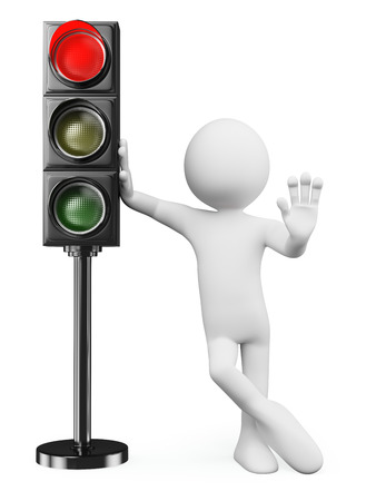 by light: 3d white people. Man leaning on a red traffic light ordering to stop. Isolated white background.