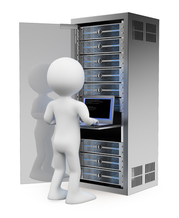 3d white people. Engineer in rack network server room working with a laptop. Isolated white background.  Stock Photo