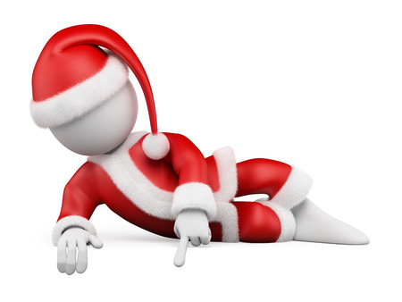cartoon: 3d white people. Santa Claus lying pointing down to a blank space. Isolated white background.