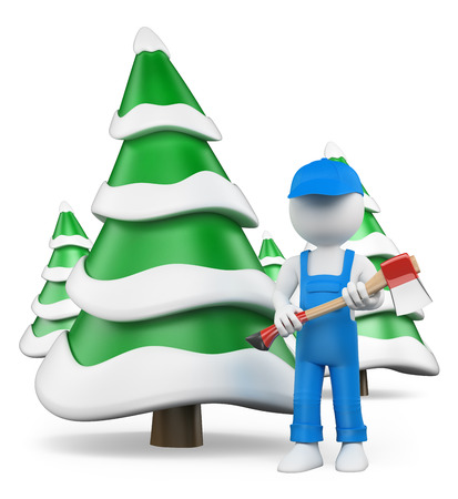 3d white people. Lumberjack with axe at snow covered fir forest. Isolated white background.  photo