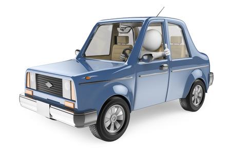 persone: 3d bianchi. Conducente nella sua auto con il pollice su. Isolato su sfondo bianco.