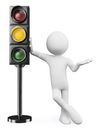 3d witte mensen. Man leunend op een oranje verkeerslicht. Geïsoleerde witte achtergrond. Stockfoto