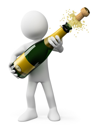 3d white people.  Popping the cork of a bottle of Champagne. Isolated white background. photo