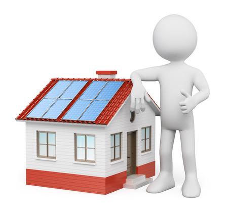 3D 백인. 태양 전지 패널과 집. 격리 된 흰색 배경.