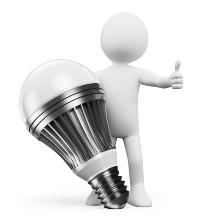 3d man: 3d white people. Man with a led lamp. Isolated white background. Stock Photo