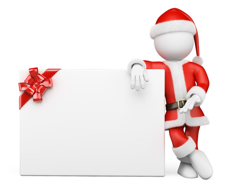 3d white people. Santa Claus leaning on a blank banner with a ribbon. Isolated white background.